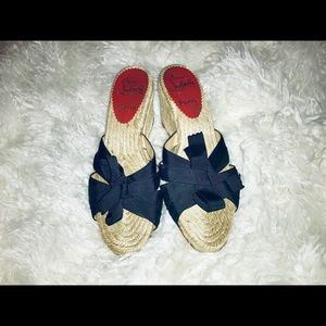 Christian Louboutin Woven Wedge Sandals 36